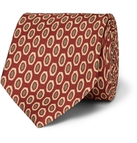 Dunhill Patterned Mulberry Silk Tie Red