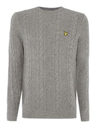 Lyle And Scott Lambswool Cable Knit Crew Neck Jumper Mid Grey Marl
