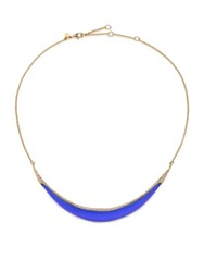 Alexis Bittar Sport Deco Lucite And Crystal Liquid Crescent Necklace Gold Blue