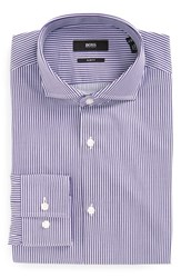 Boss Men's Big And Tall Slim Fit Stripe Dress Shirt Dark Purple