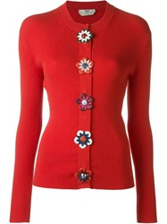 Fendi Flower Applique Cardigan Red
