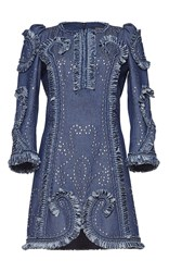 Andrew Gn Long Sleeve Studded Dress Blue