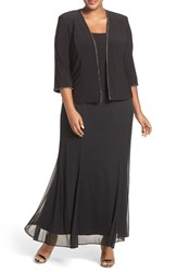 Alex Evenings Plus Size Women's Mock Two Piece Dress With Matching Jacket Black