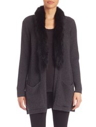 Milly Long Sleeve Coat With Fur Collar Black