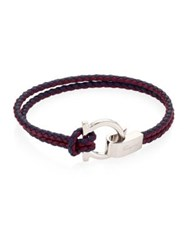Salvatore Ferragamo Gancini Buckle Leather Bracelet Marine Wine