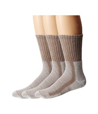 Thorlos Light Hiker Crew 3 Pair Pack Walnut Heather Men's Crew Cut Socks Shoes Taupe