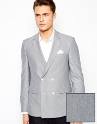 Asos Slim Fit Double Breasted Blazer In Oxford