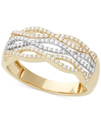 Macy's Diamond Cutout Band 1 3 Ct. T.W. In 14K White And Yellow Gold Two Tone