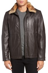 Marc New York Men's Chatham Genuine Rabbit Fur Trim Leather Coat Espresso