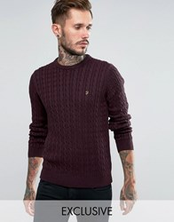 Farah Jumper With Cable Knit Exclusive Bordeaux Red