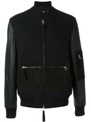 Blood Brother Zip Detail Bomber Jacket Black