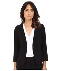 Kensie Stretch Crepe Collareless Blazer Ks2k2165 Black Women's Jacket