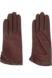 Agnelle Cashmere Lined Leather Gloves Brown