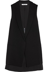 Elizabeth And James Aster Layered Crepe And Cady Vest Black