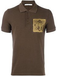 Givenchy Cobra Patch Polo Shirt Brown