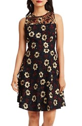 Donna Morgan Women's Floral Embroidered Fit And Flare Dress