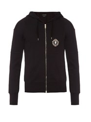 Alexander Mcqueen Crest Applique Zip Up Cotton Hooded Sweatshirt Black