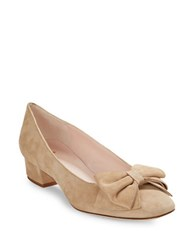 Kate Spade Molly Suede Pumps With Bow Accent Sand