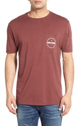 Men's Rip Curl 'Retro Heritage' Graphic Pocket Crewneck T Shirt Deep Red