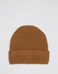 Asos Stitch Fisherman Beanie In Tobacco Tobacco Brown
