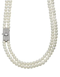 Lord And Taylor Sterling Silver Fresh Water Pearl Necklace With White Blue Topaz Clasp
