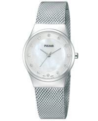 Pulsar Women's Stainless Steel Mesh Bracelet Watch 27Mm Ph8053 Women's Shoes