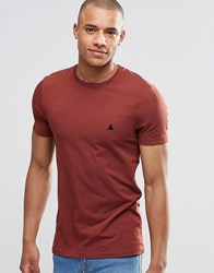 Asos Muscle T Shirt With Crew Neck And Logo In Red Hot Spice