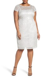 Adrianna Papell Plus Size Women's Illusion Neck Sequin Mesh Sheath Dress