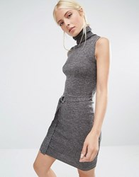 Brave Soul Tie Waist Knitted Dress Charcoal Grey