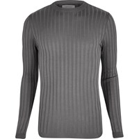 River Island Mens Dark Grey Chunky Ribbed Muscle Fit Top