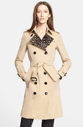 Burberry 'Sandringham' Leopard Print Trim Trench Coat Honey
