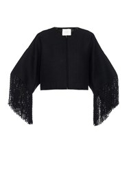 Adam By Adam Lippes Basketweave Fringed Cropped Jacket