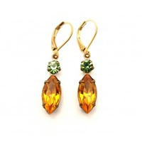 Zt Golden Topaz And Green Vintage Jewel Earrings