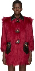 Gucci Red Faux Fur And Leather Shag Coat