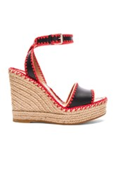 Valentino Leather Color Crochet Wedges In Black Red Neutrals