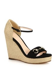 Gucci Carolina Suede Espadrille Wedge Sandals Black