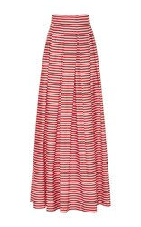 Mds Stripes Inverted Pleat Ball Skirt Red