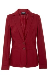 Paule Ka Cotton Poplin Blazer With Pockets Burgundy
