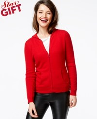 Charter Club Cashmere Zip Front Hoodie In 11 Colors Only At Macy's Tomato
