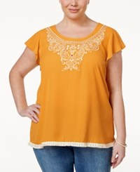Eyeshadow Plus Size Embroidered Fringe Top Golden Poppy