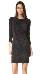 Shoshanna Ruched Metallic Dress Jet Silver Combo