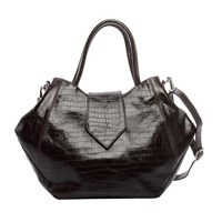 Annie Diamantidis Crocodile Embossed Leather Satchel Multi
