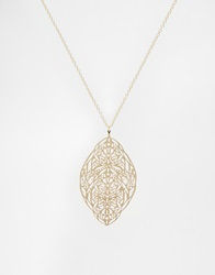 Asos Filigree Feather Long Pendant Necklace Gold