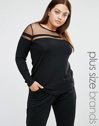 Junarose Long Sleeved Glitter Top With Mesh Insert Black
