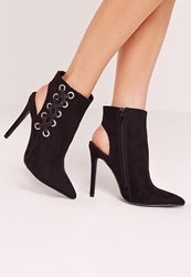 Missguided Side Cross Strap Heeled Ankle Boot Black Black