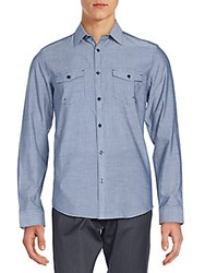 Calvin Klein Regular Fit Chambray Cotton And Linen Sportshirt Dress Blue