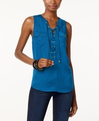 Inc International Concepts Sleeveless Lace Up Top Only At Macy's Caribe Blue