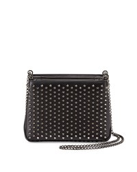 Christian Louboutin Triloubi Small Studded Leather Shoulder Bag Black Gunmetal Women's Black Gun Metal