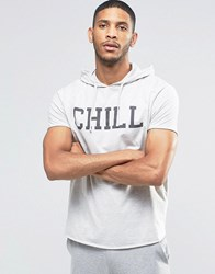 Asos Loungewear Hooded T Shirt With Chill Print Light Grey Marl