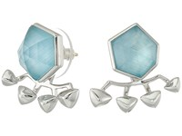 Stephen Webster Superstud Crystal Haze Earrings Blue Cats Eye Over White Mother Of Pear